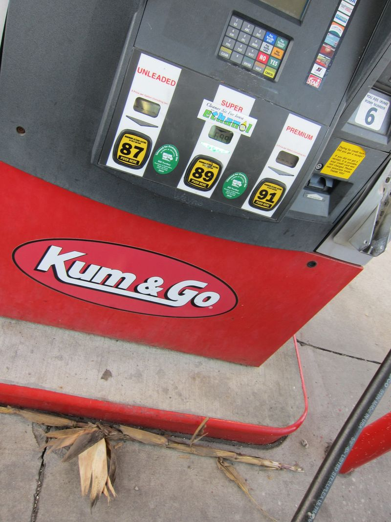 Corn Stalk by gas pump
