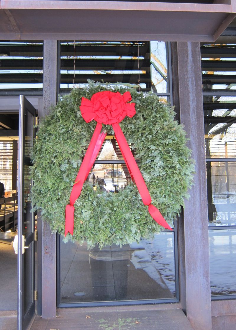 Wreath on Door of Deere Headquarters